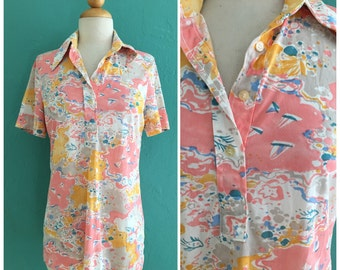 70's pink novelty top // sailboat print top ~ small medium