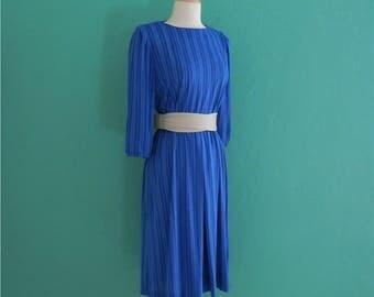 sale | 70's rich blue striped dress // secretary dress ~ small medium