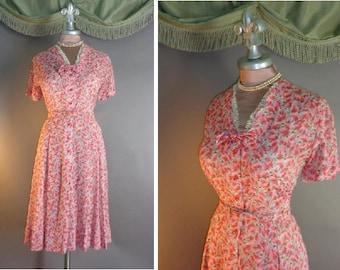 50s dress 1940s vintage PINK LILACS PRINT floral lavender sheer cotton voile full skirt dress
