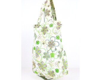 Reversible Grocery Tote in Green and Brown Floral, Designer Fabric, triple reinforced