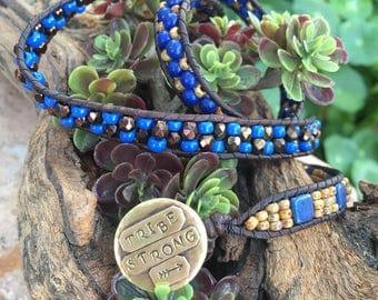 Seed bead leather bracelet boho jewelry wrap bracelet tribe jewelry tribe strong blue beads triple wrap hand stamped brass handmade jewelry