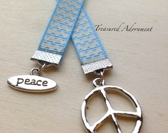 Bookmark, Peace Bookmark, Silver, Light Blue Chevron Ribbon, Gift for Book lover, World Peace Unity Harmony, Thank you gift, United We stand