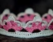 Custom crochet Headband with flower / Baby Princess Crown / Prince Crown / Elsa Frozen Party / Disney Princess Queen Elsa / Anna Tiara