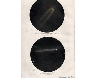 1911 HALLEY'S COMET LITHOGRAPH - original antique print - celestial astronomy print