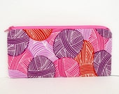 Zippered Pencil Pouch, Knitting Notions Bag, Yarn Party in Purple and Pink