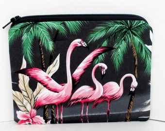 Small Zippered Pouch Bag, Coin Purse, Retro Pink Flamingos on Black