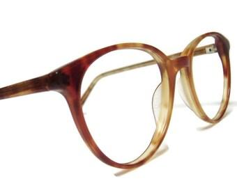 Vintage 80s Big Lens Red Tortoise Cateye Eyeglasses Eyewear Frame
