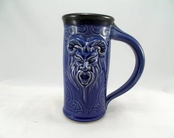 Mug Pan Beer Stein, Blue Glaze, Original Design Fantasy Art Mug Sculpted with Classic Gargoyle Mug Design, Barware, Tableware,  Renfaire