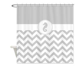 FOG GRAY Chevron SEAHORSE Shower Curtain - Custom Shower Curtain, Beach, Ocean