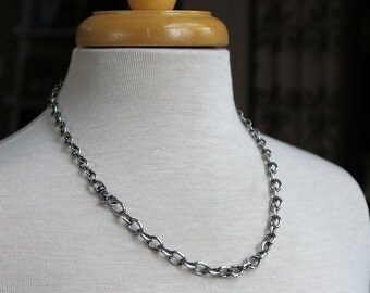 Mens Cable Chain Necklace, Sterling Silver Large Link Chain, Mens Silver Necklace