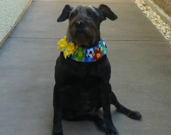 """Dog Ruffle Collar, Pet Bandana, Soccer Balls Dog Scrunchie Collar with yellow bow - Size L: 16"""" to 18"""" neck - LaSt OnE THiS FaBRic"""
