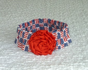 """Dog Ruffle Collar, Pet Bandana, Flag Squares Patriotic Dog Scrunchie Collar with red satin rolled rose - Size XL: 18"""" to 20"""" neck"""