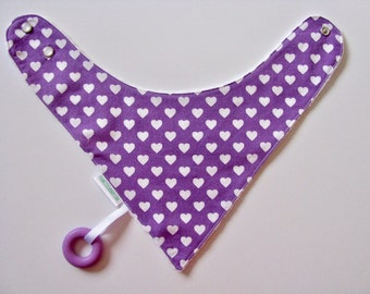Baby Bandana Bib With an Attached Food Safe  Silicone Teether Hearts on Purple  Reversible  Minky Lined