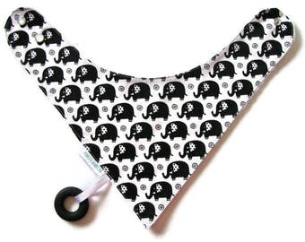 Baby Bandana Bib With an Attached Food Safe  Silicone Teether, Elephants  Reversible  Minky Lined