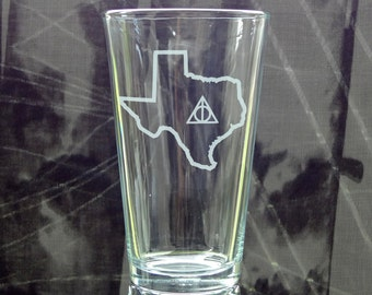 State Outline Deathly Hallows Pint Glass - Choose Your State - Etched Pint Glass - Potterhead Gift - Always Mug - State Love - Custom State