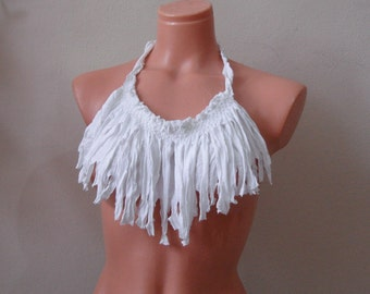 White Fringe t-shirt necklace, Fringe Bib Necklace, Handmade necklaces White statement necklace