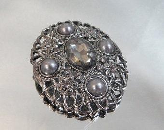 ON SALE Vintage Victorian Revival Brooch.  Gray Faux Pearls. Smoky Hematite Rhinestone. Marcasite.