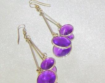 ON SALE Vintage Earrings Amethyst Purple Bezel Set Swinging Pendulum