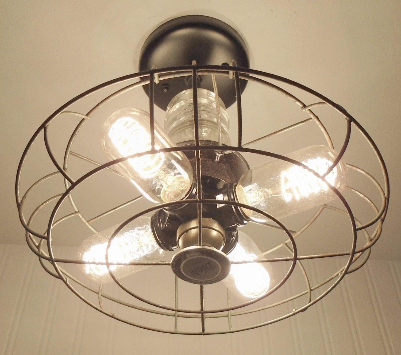 Rustic Track Lighting Kitchen: Flush Mount CEILING LIGHT Rustic Industrial Lighting