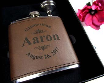 6 Personalized Leather Flask Gift Boxes, Custom Engraved Groomsmen Gift Flasks, Personalized Hip Flasks, Brown Leather LGO Funnel