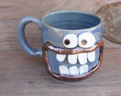 RESERVED Crazy Happy Smiley Face Mug Googly Eyes Funny Coffee Cups Blue Stoneware Pottery Mug. Unique Cool Coffee Cups. Handmade. 14 Ounces.