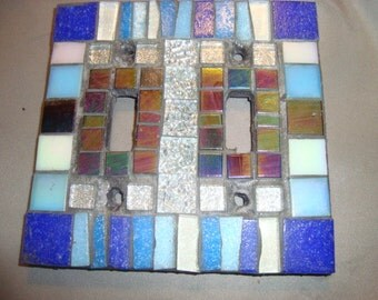 MOSAIC LIGHT SWITCH Plate, Double, Wall Art, Wall Plate, shades of Blue, Silver, Iridescent Black