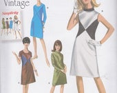 Sale Simplicity Pattern 1012 1960's Vintage Retro Dresses W/or Without Contrast Fabric Bodice Insets, Sleeve & Neckline Variations Misses' 1