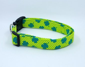 Teal Green Shamrocks and White Polka Dots on Lime Green Dog Collar St. Patricks Day