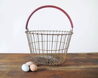Vintage Wire Egg Basket with Original Rubber Handle Rustic Farmhouse