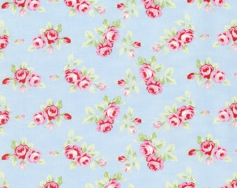 Rambling Rose Fabric Pink RoseBuds Flowers Spring Floral Roses Buds on Blue by Tanya Whelan