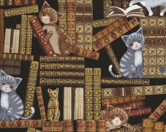 Cats Invade the Library Mischievous Kitty Cat on the Bookshelf Fabric TT
