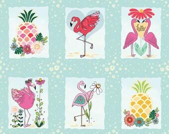 Flamingo Fever Fabric Flamingo Panel Framed Flamingos and Pineapples and Daisy Flowers