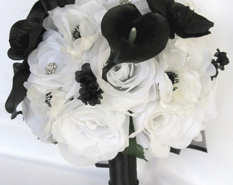 "17 Piece Package Wedding Bouquets Bridal Bouquet Wedding Silk flowers WHITE BLACK CALLA Lily Orchid Wedding Centerpiece ""RosesandDreams"""