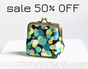 Sale 50% OFF Coin Purse - Metal Frame Pouch - Small - Greens and blues