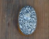 Antique Sterling Silver Floral Repousse Flowers Scrolls Vanity Dresser Hair Clothes Brush . Oval Brush