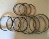 Vintage -  11 Metal  Embroidery Hoops - Cork Lined Spring Tension - Craft Ready - Retro Collection