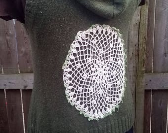 XL Upcycled Sweater Vest with Doily OOAK Recycled...reuse, eco-friendly, boho, hippie, wearable art