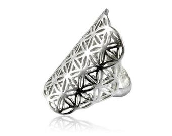 Flower of life silver Ring, Sacred Geometry Jewelry, Yoga ring, Silver Jewellery, Protection jewellery, Tribal ring, Seed of life, Tribu