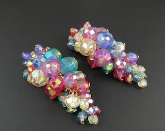 Colorful Cluster Earrings, Statement Earrings, Colorful Earrings, Bead Cluster Earrings, Waterfall Earrings, Dangle Earrings