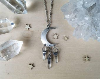 Phantom Moon Crystal Necklace ll  Double Pointed Phantom Quartz Crystals Point Moon Beams