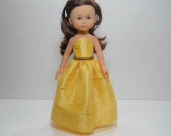 13 inch doll clothes made to fit dolls such as Corolle Les Cheries doll clothes, Yellow Fancy Princess Dress, 12-1631