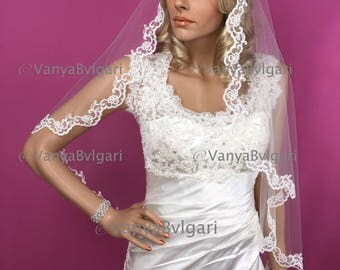 Cathedral Mantilla Spanish veil with swirl lace edge design with beads and sequences in Spanish style for Catholic wedding, bridal lace veil