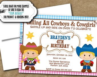Printed Birthday Party Invitations, Invite with Envelope, Cowboys and Cowgirls Design, Wild West, Western Theme, Pink, Blue, Brown