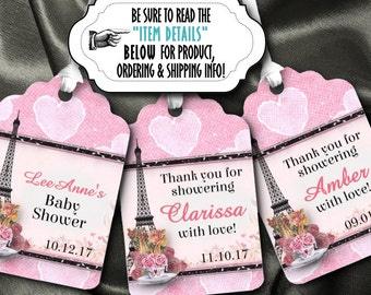 12 Favor Tags, Gift Tags, Wedding, Bridal, Baby Shower, Birthday, Anniversary, Paris French Theme, Eiffel Tower, Pink, Black, Hearts & Roses