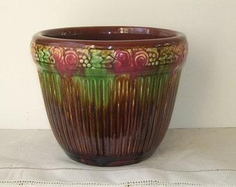 Vintage Brown and Green Drip Gloss Jardiniere, Home Decor, Art Pottery Planter, Studio Line Pottery, Pot Planter, Stoneware Jardiniere