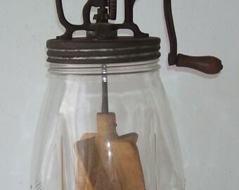 Antique Dazey Butter Churn No. 4, Wooden Paddles, 4 Quart, Art Deco Tulip Shape Glass, Country Kitchen, Farm House Primitive,