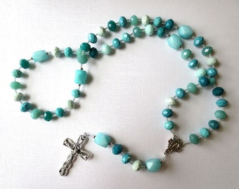 Blue Green Catholic Rosary with Miraculous Medal Center, Teal and Aqua Color Rosary