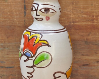 """DeSimone Italian Pottery Hand Painted Picasso Style Vase Vintage late 1940's- 1950s 11.5""""  Signed Not made for export"""