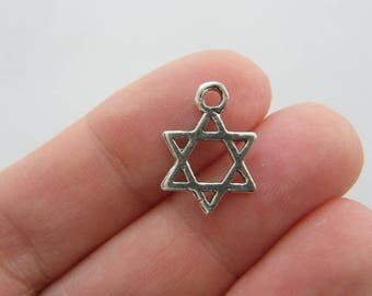8 Star of David charms antique silver tone R3