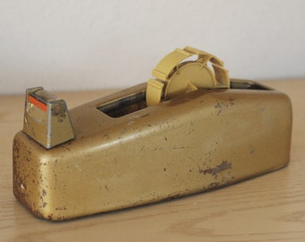 Vintage Scotch Heavy Duty Industrial Tape Dispenser Gold C-23 Steampunk- Patina